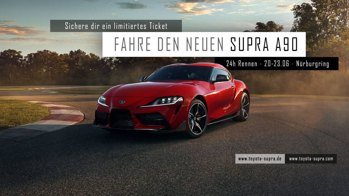 Drive the new Supra A90 exclusively with Toyota and the German Supra Community at the 24h race at the Nürburgring